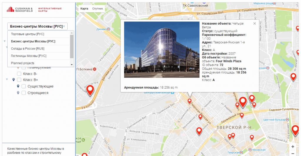карта офисов и торговых центров Москвы